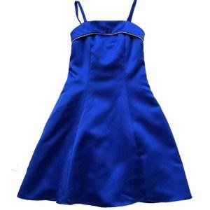 Dave & Johhny Formal Dress Satin Rhinestone Blue